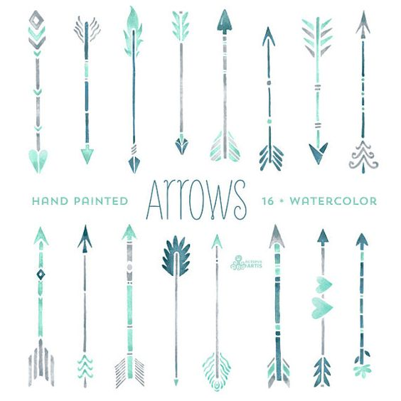 Grey tribal arrow clipart image freeuse library Mint Hand painted Arrows Watercolour 16 Clipart. Tribal, native ... image freeuse library