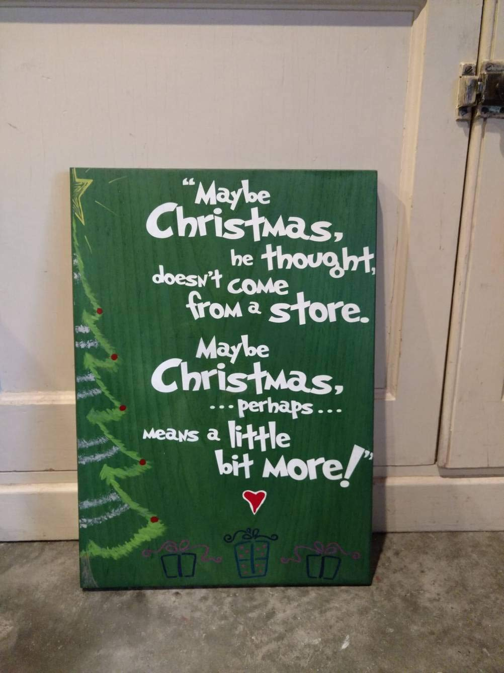 Grinch maybe christmas perhaps means a little more clipart jpg free Amazon.com: MarthaFox The Grinch Christmas Quote Wood Sign Maybe ... jpg free