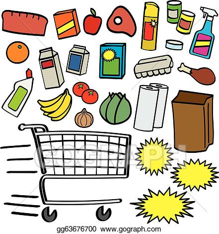 Grocery items clipart clipart black and white stock Vector Art - Supermarket items. Clipart Drawing gg63676700 - GoGraph clipart black and white stock
