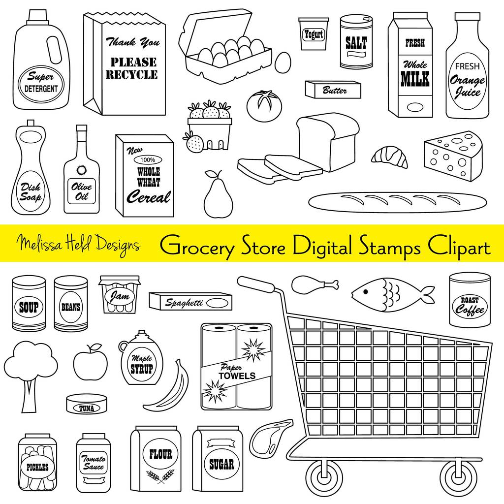Grocery items clipart clip royalty free stock Grocery Store Digital Stamps Clipart clip royalty free stock
