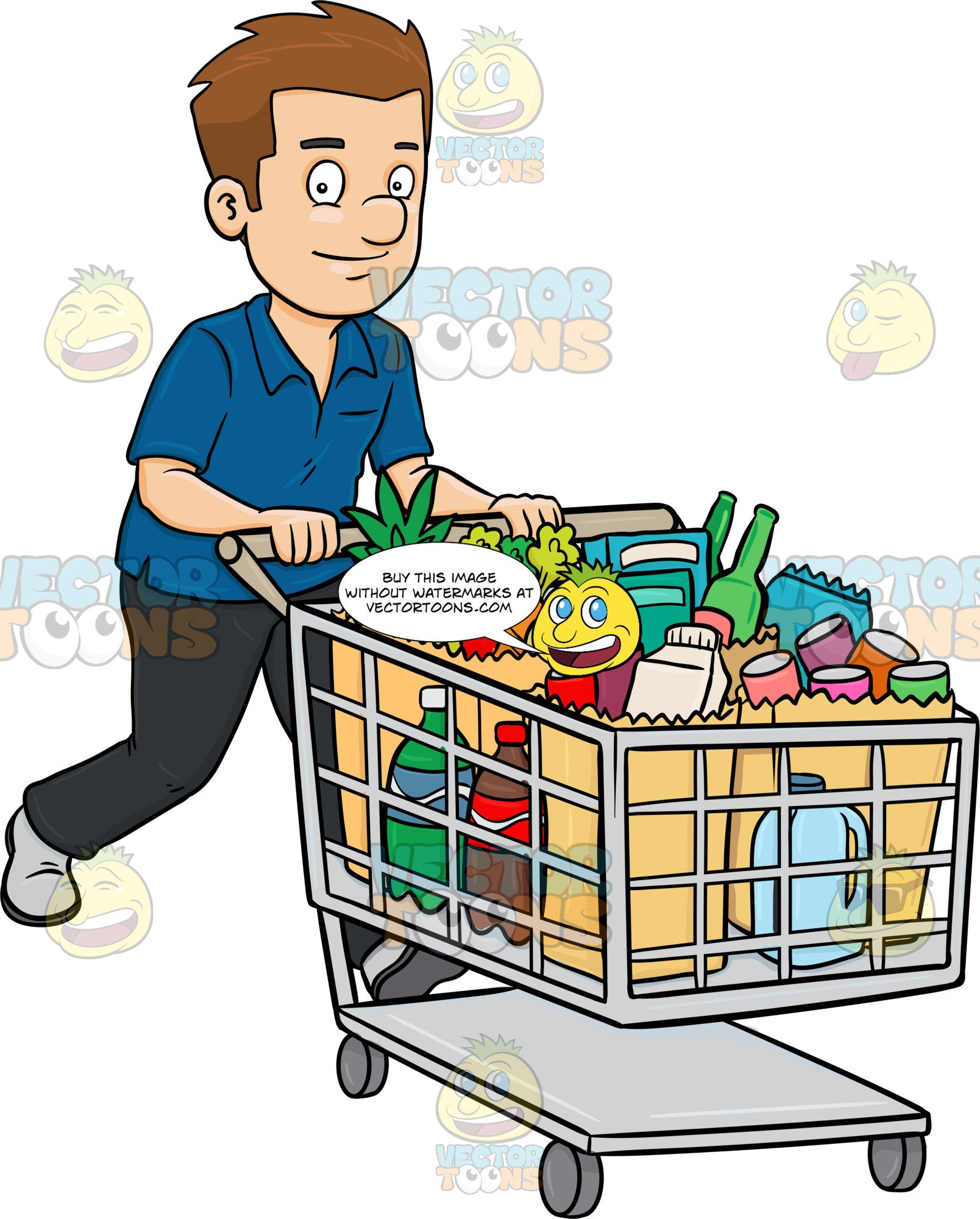 Grocery items clipart banner free stock A Man Smiles After Checking Out Of A Supermarket With His Grocery Items banner free stock