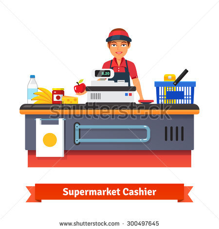 Grocery store clerk clipart vector royalty free download Supermarket Cashier Stock Images, Royalty-Free Images & Vectors ... vector royalty free download