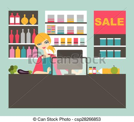 Grocery store clerk clipart jpg library stock Clip Art Vector of Cashier working in the grocery store - A vector ... jpg library stock