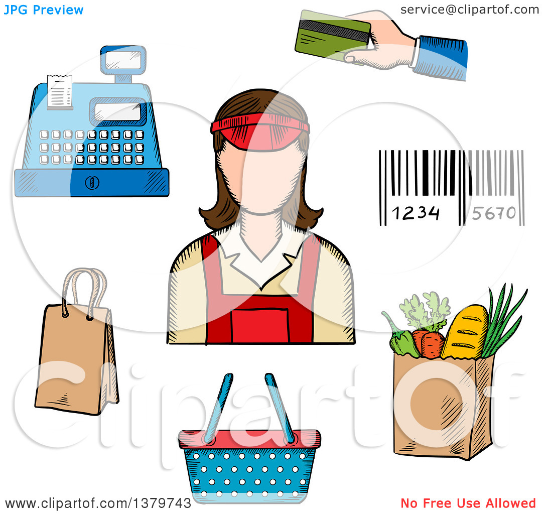 Grocery store clerk clipart png royalty free download Clipart of a Sketched Store Clerk and Grocery Items - Royalty Free ... png royalty free download