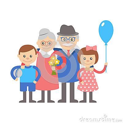 Groeltern und enkel clipart svg freeuse download Grandfather, Grandmother And Granddaughter Vector Illustration ... svg freeuse download