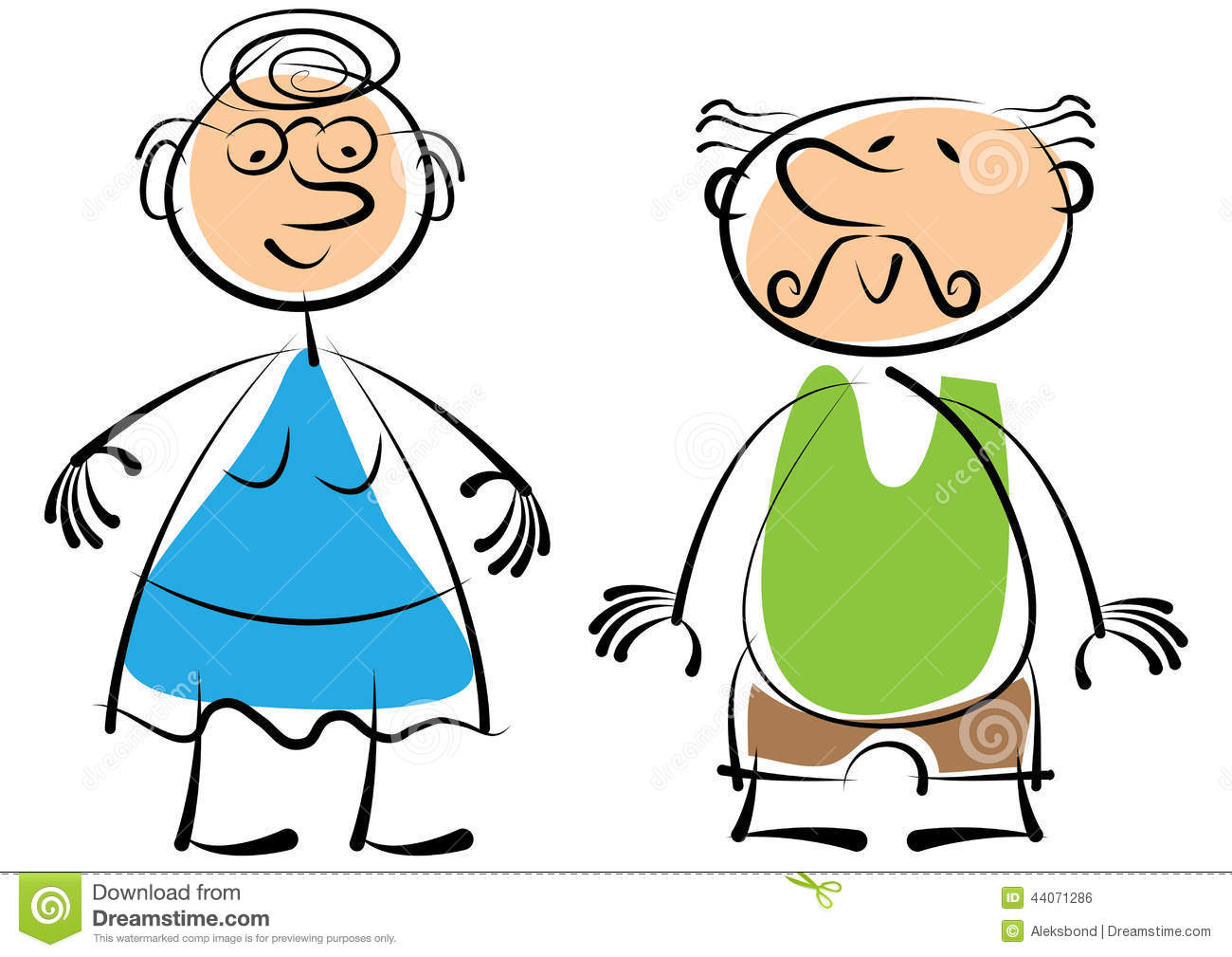Groeltern und enkel clipart svg freeuse download Grandmother And The Grandfather Isolated On White Stock ... svg freeuse download
