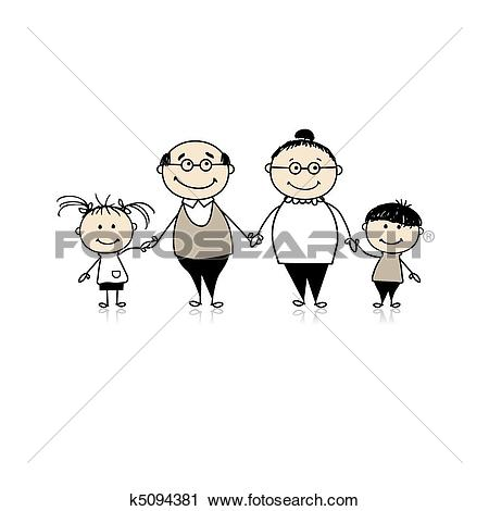 Groeltern und enkel clipart clipart royalty free stock Stock Photograph of Grandparents welcoming grandchildren k1890699 ... clipart royalty free stock