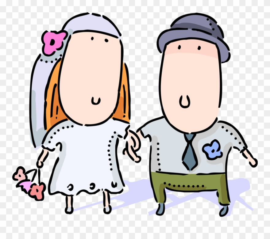 Groom cartoon clipart freeuse stock Vector Illustration Of Bride And Groom On Wedding Day - Married ... freeuse stock