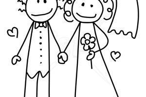 Groom stick figure clipart black and white vector black and white Stick bride and groom clipart » Clipart Portal vector black and white
