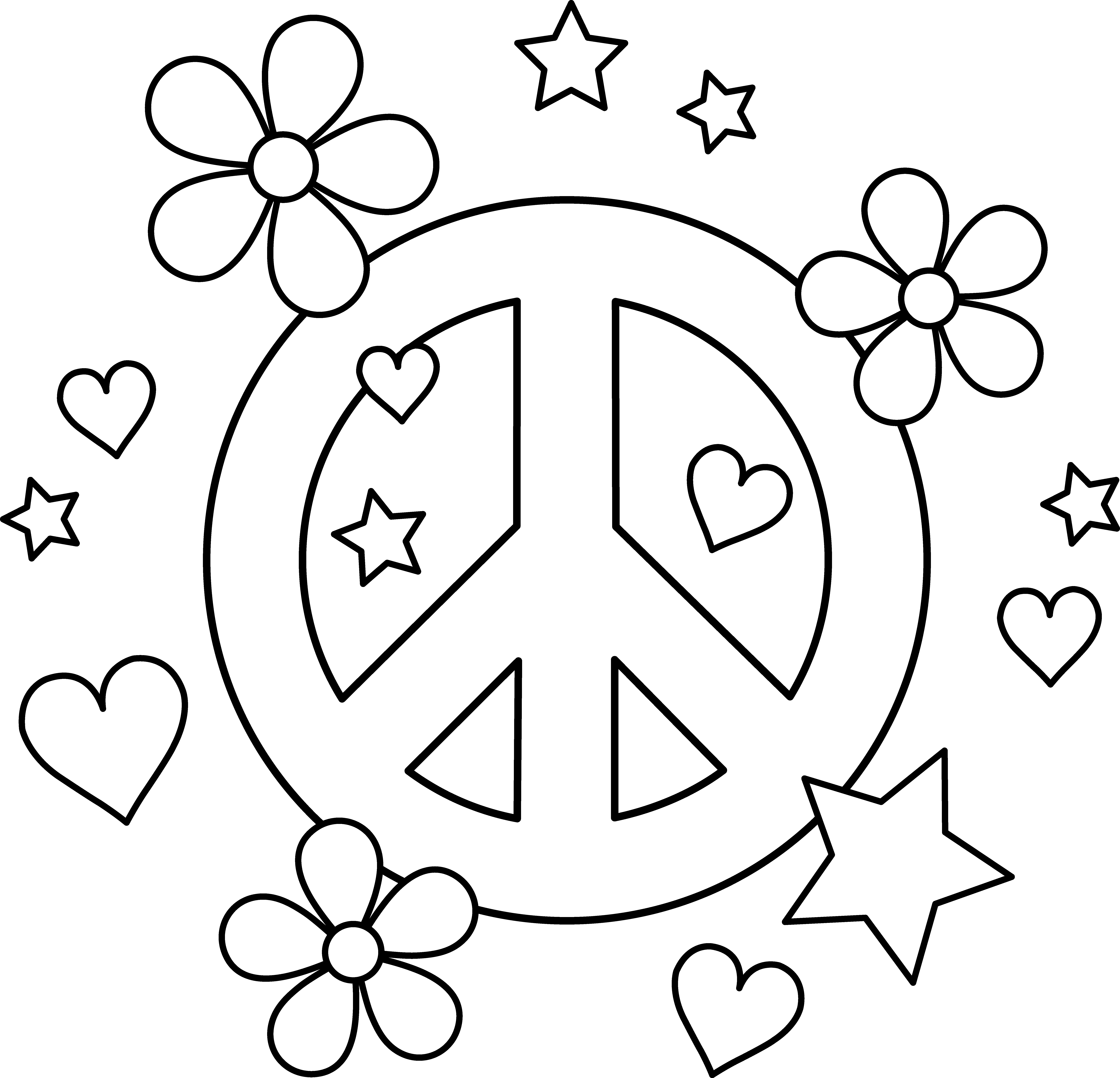 Groovy flower clipart banner black and white stock peace sign with flowers clipart - Clipground banner black and white stock