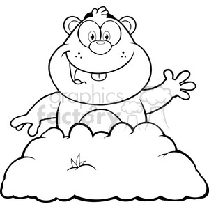 Groundhog black and white clipart picture freeuse library royalty free rf clipart illustration black and white happy marmmot cartoon  character waving in groundhog day vector illustration isolated on white .  ... picture freeuse library