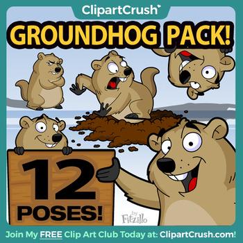 Groundhog cartoon clipart clip royalty free Groundhog Clipart Bundle / Cartoon Groundhog Day Clip Art Set! clip royalty free