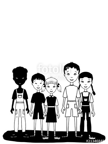Group black teens playing together cartoon clipart clip art transparent cartoon young child group standing black white \
