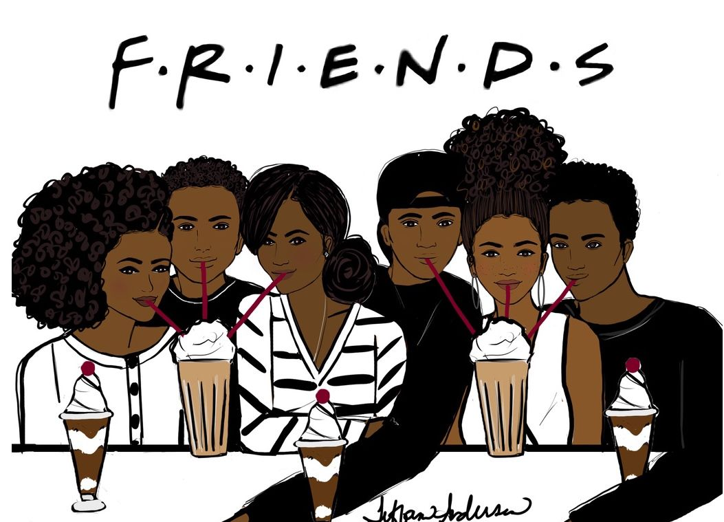 Group black teens playing together cartoon clipart banner library I\'ll be there for you…. - Tiffani Anderson Illustration | creative ... banner library