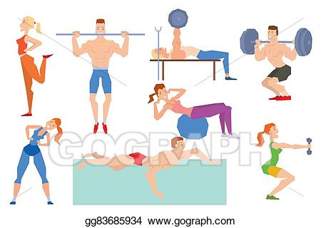 Group exercise clipart graphic black and white stock EPS Illustration - Cartoon sport gym people group exercise on ... graphic black and white stock