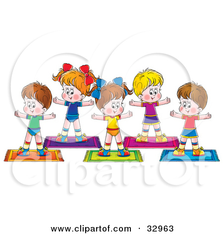 Group fit class clipart picture black and white Clipart Illustration of a Group Of Healthy Children Exercising In ... picture black and white