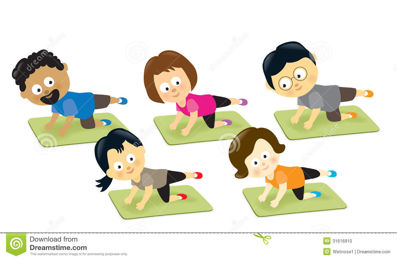 Group fit class clipart image black and white Group exercise clipart - ClipartFox image black and white