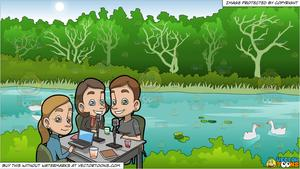 Group of girlfriends in the park clipart graphic transparent download A Set Of Girlfriends Doing A Business Podcast and Pond In A Park In Summer  Background graphic transparent download