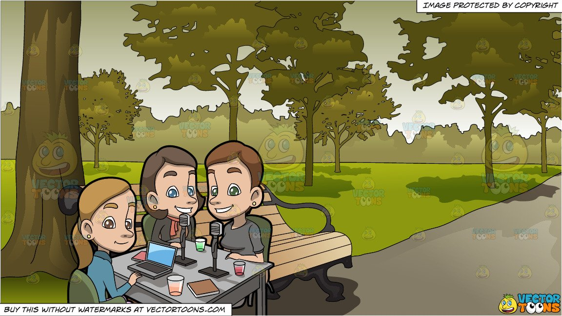 Group of girlfriends in the park clipart graphic black and white stock A Set Of Girlfriends Doing A Business Podcast and Serene Park Background graphic black and white stock