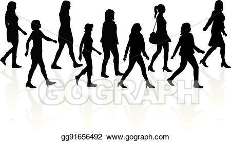Group of people walking clipart jpg download Vector Stock - Crowd of people walking. Clipart Illustration ... jpg download