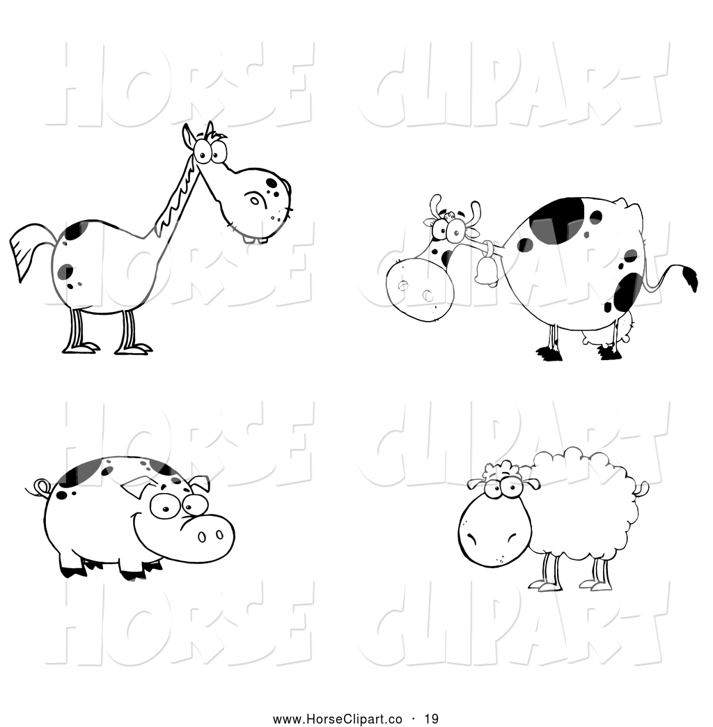 Group of pigs clipart black and white clip stock Clip Art of a Cute Group of Farm Animals; Black and White Horse, Cow ... clip stock