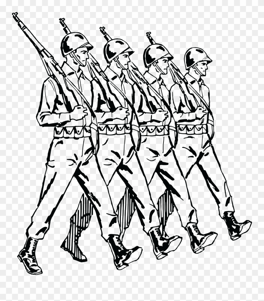Group of soldiers clipart jpg library stock Free Clipart Of A Group Of Marching Army Soldiers - Soldiers ... jpg library stock