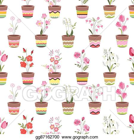 Growing flowers clipart png freeuse library EPS Vector - Seamless pattern with cute striped flower pots and ... png freeuse library