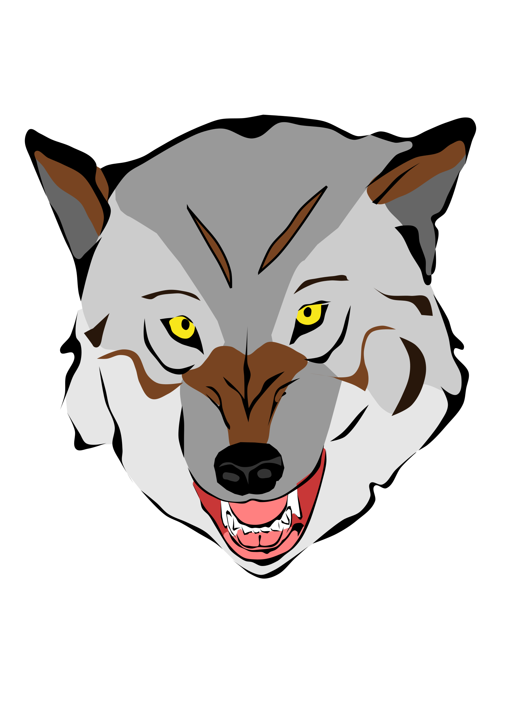 Snarling dog clipart graphic library Gray Wolf Clipart Wolf Head Free collection | Download and share ... graphic library