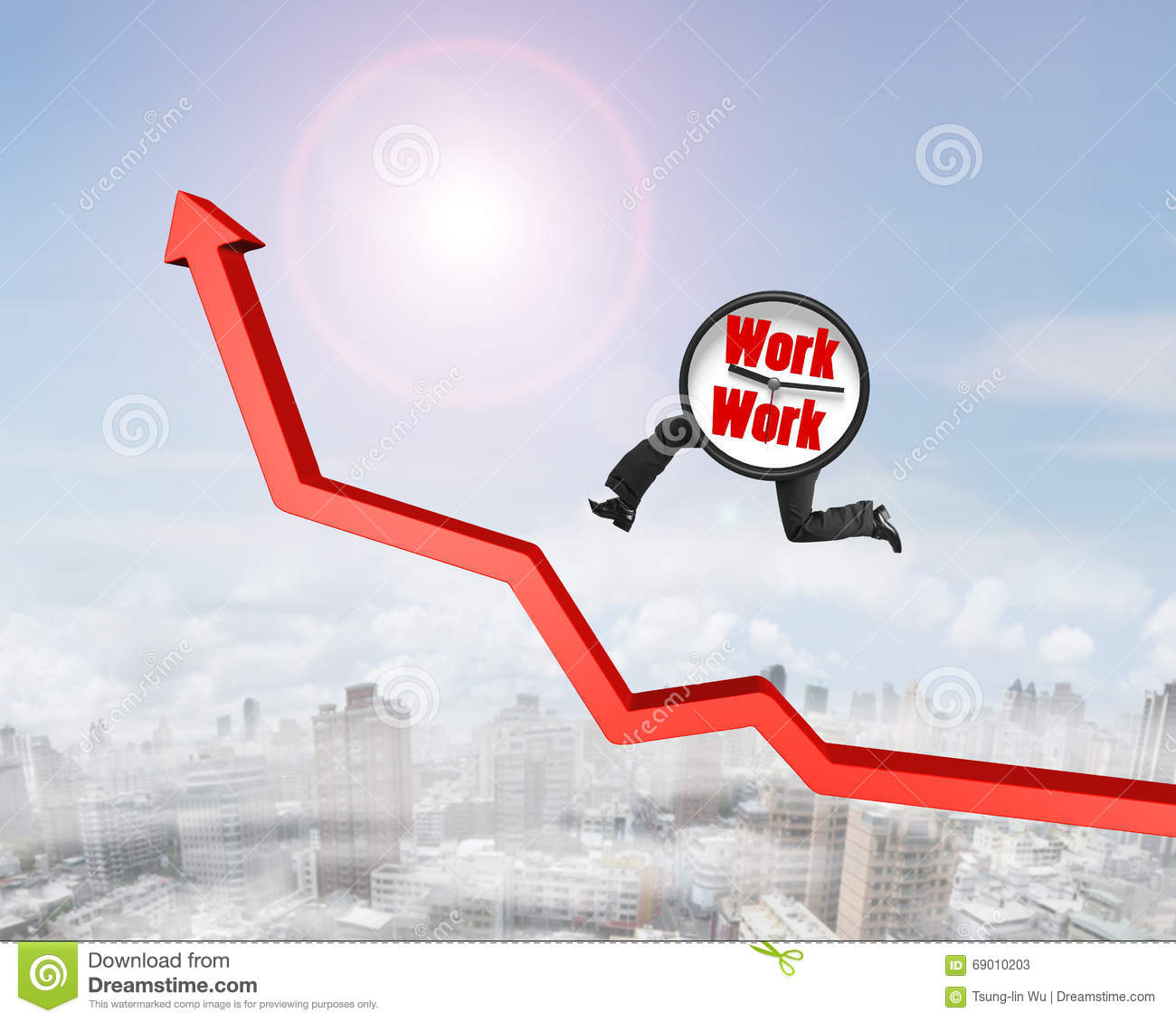 Growth arrow clipart clock jpg library library Clock With Legs Running On Growing Red Arrow Graph Stock Photo ... jpg library library