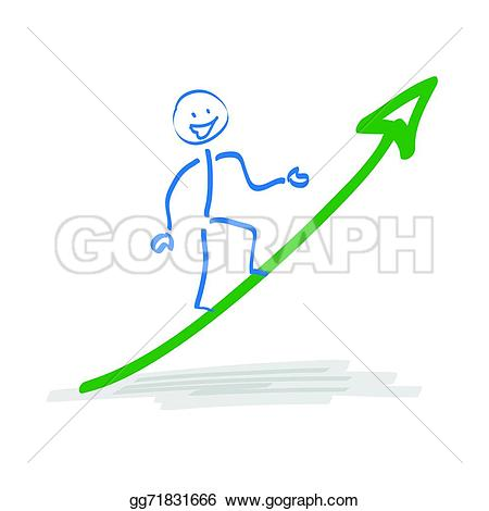 Growth arrow clipart clock image black and white library EPS Vector - Stickman on growth arrow. Stock Clipart Illustration ... image black and white library