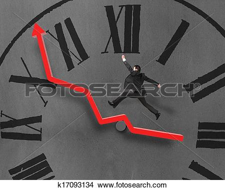 Growth arrow clipart clock image transparent stock Stock Photo of Man running and jumping on growth red arrow, chock ... image transparent stock