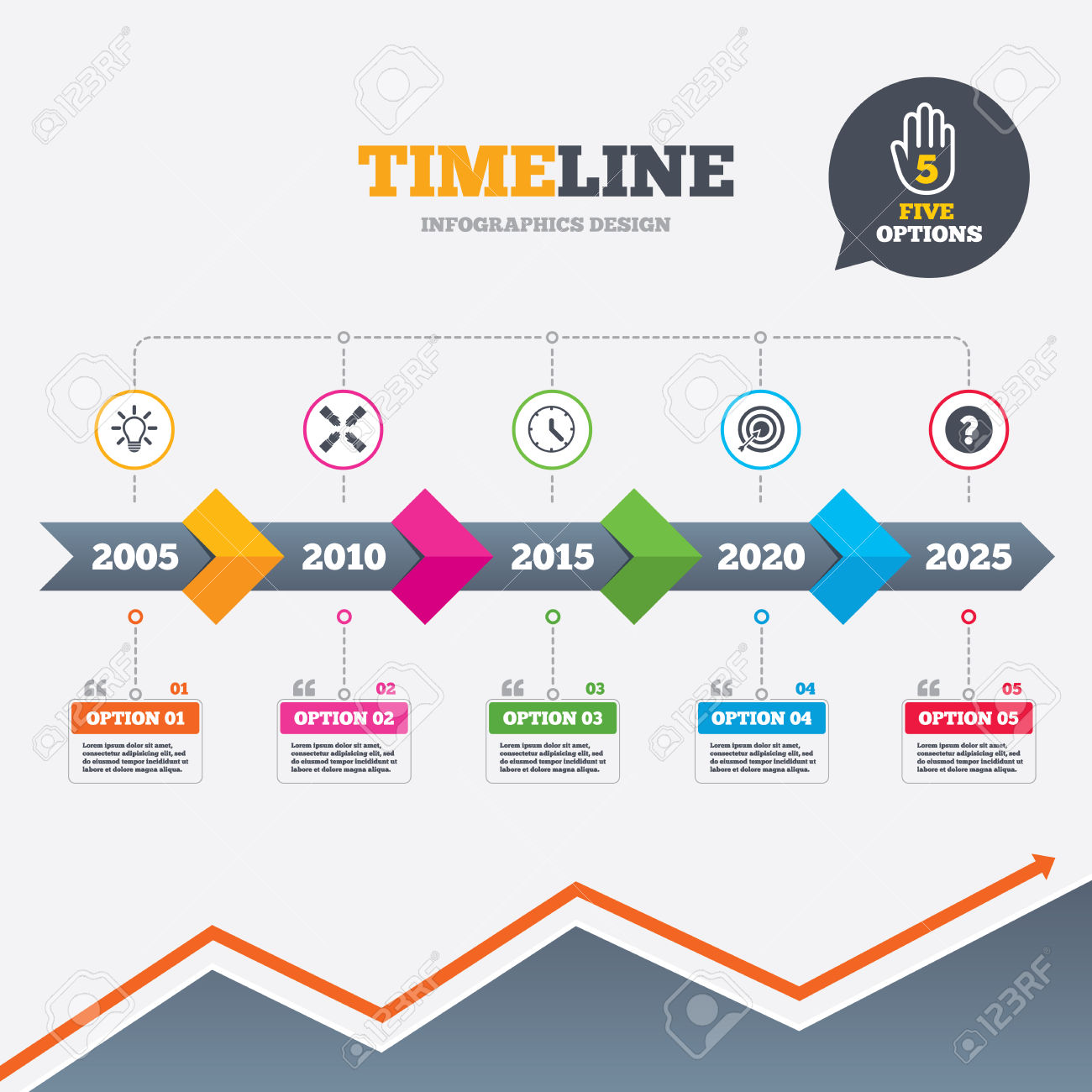 Growth arrow clipart clock banner free download Timeline Infographic With Arrows. Lamp Idea And Clock Time Icons ... banner free download