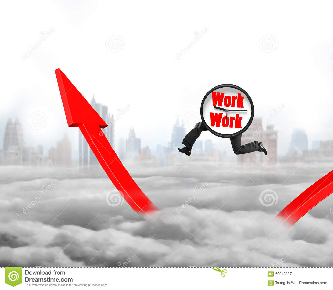 Growth arrow clipart clock graphic library Clock With Legs Running On Growing Red Arrow Graph Stock Photo ... graphic library