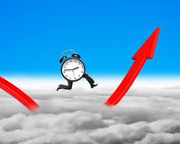 Growth arrow clipart clock png freeuse stock Clock With Legs Running On Growing Red Arrow Graph Stock Photo ... png freeuse stock