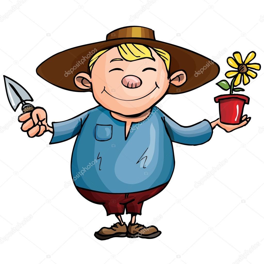 Grtner bei der arbeit clipart png transparent library Cartoon Gärtner mit Topfpflanze — Stockvektor © antonbrand #8130984 png transparent library