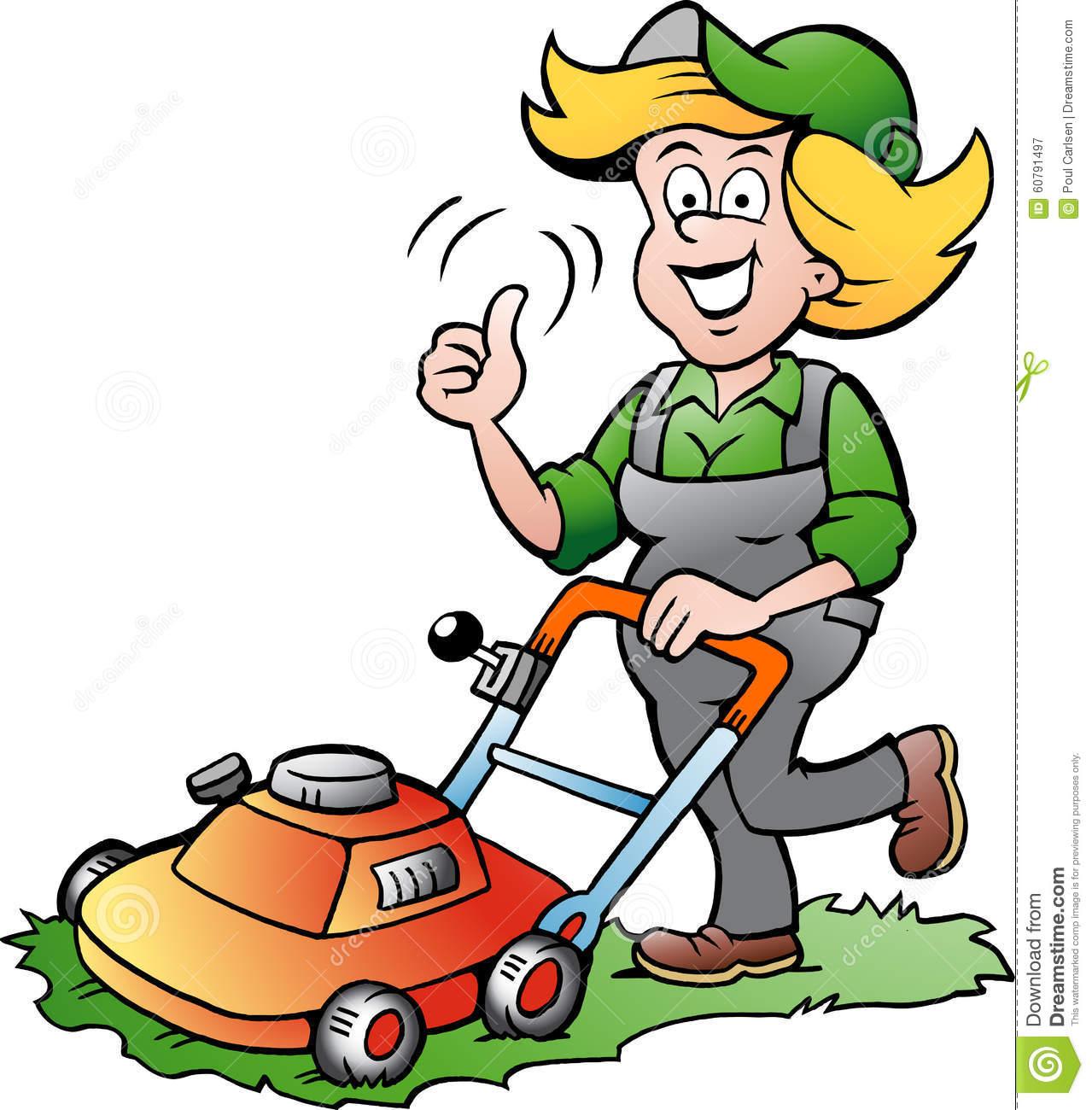 Grtner bei der arbeit clipart download Gärtner Woman Mit Einem Rasenmäher Stock Abbildung - Bild: 60791497 download