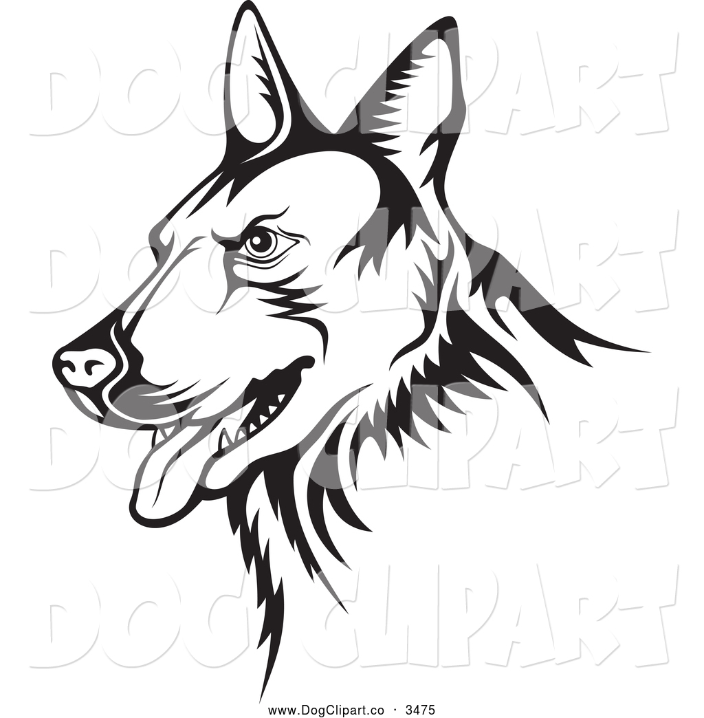 Guard dog clipart black and white picture library download Vector Clip Art of a Black and White German Shepherd Guard Dog by ... picture library download
