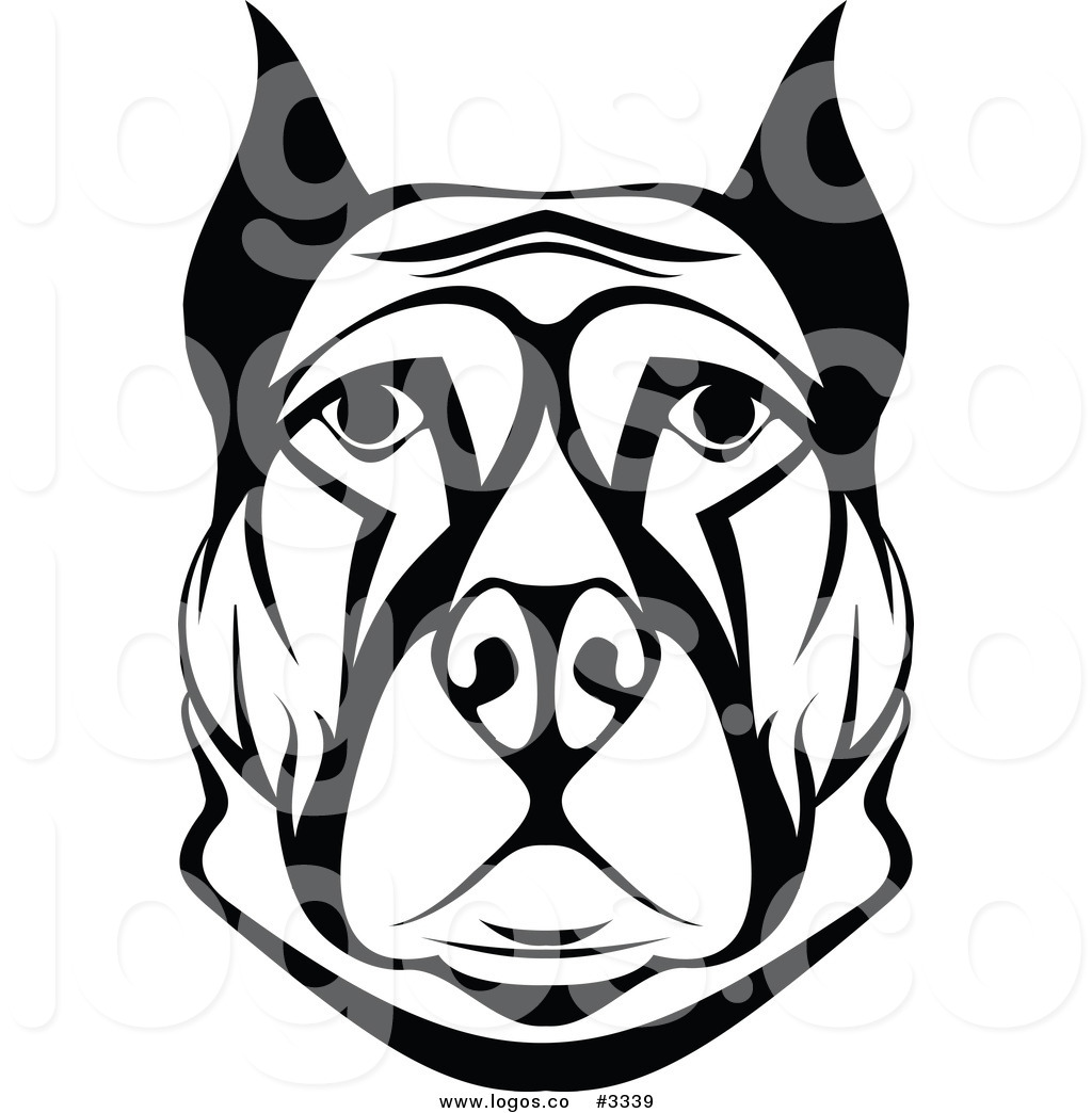 Guard dog clipart black and white download Royalty Free Vector of a Black and White Dog Face Logo by Vector ... download