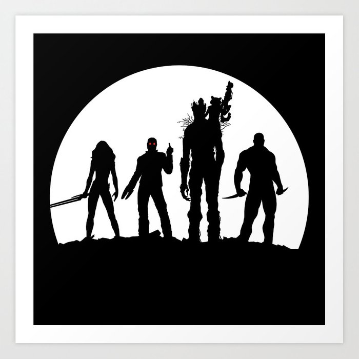 Guardians of the galaxy black and white clipart graphic black and white Guardians of the Galaxy Art Print by helmer graphic black and white