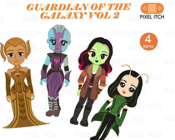 Guardians of the galaxy gamora clipart picture black and white library Guardian of The Galaxy Fan\'s Clipart. Female Superheroes- Ayeesha ... picture black and white library
