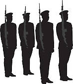 Guards clipart black and white library Military Honor Guard Clip Art - Royalty Free - GoGraph black and white library