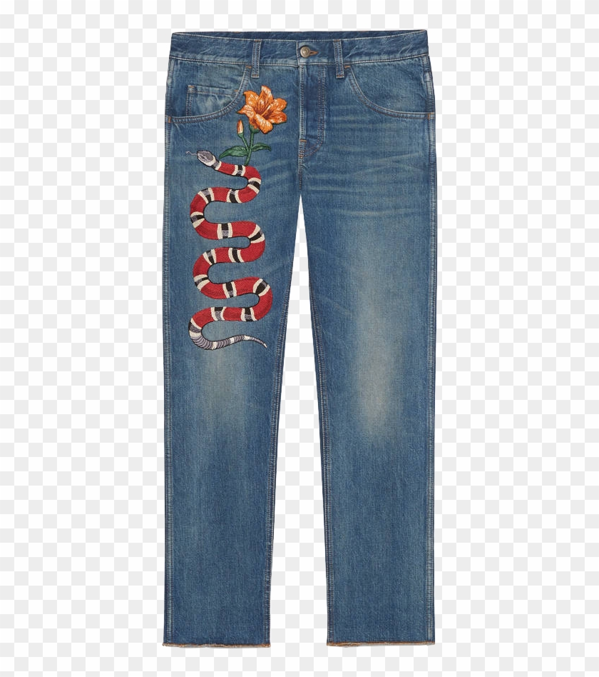 Gucci pants clipart image download Gucci Pre-fall 16 Tapered Jean With Snake Embroidery - Top 10 Most ... image download