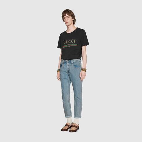 Gucci pants clipart clipart royalty free library Oversize washed T-shirt with Gucci logo clipart royalty free library