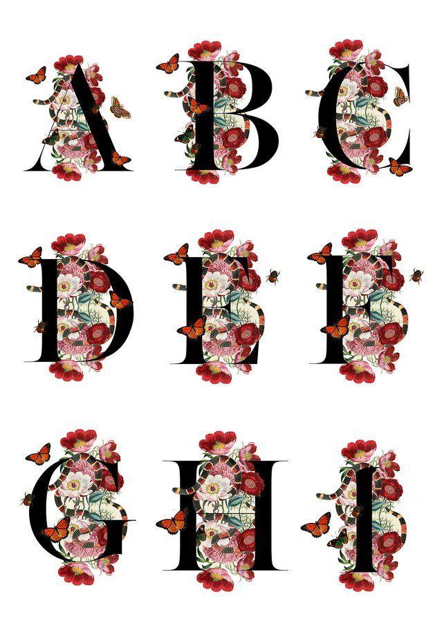 Gucci print clipart clip art black and white Guccy Alphabet ART PRINT   Monogram Letter Fashion wall art   Snakes ... clip art black and white