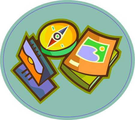 Guide book clipart png download Stock Illustration - A compass, travel brochures, and travel guide books png download
