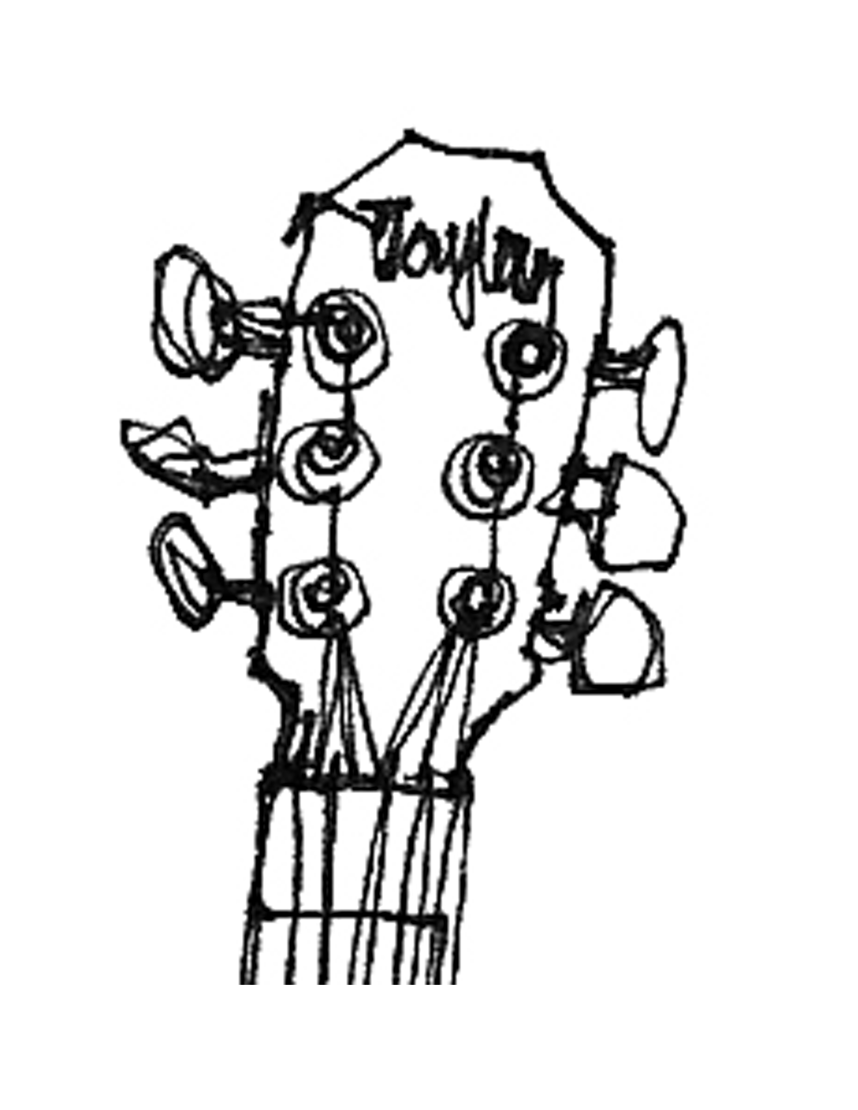 Guitar headstock drawing clipart black and white freeuse download Guitar Line Drawing - ClipArt Best freeuse download