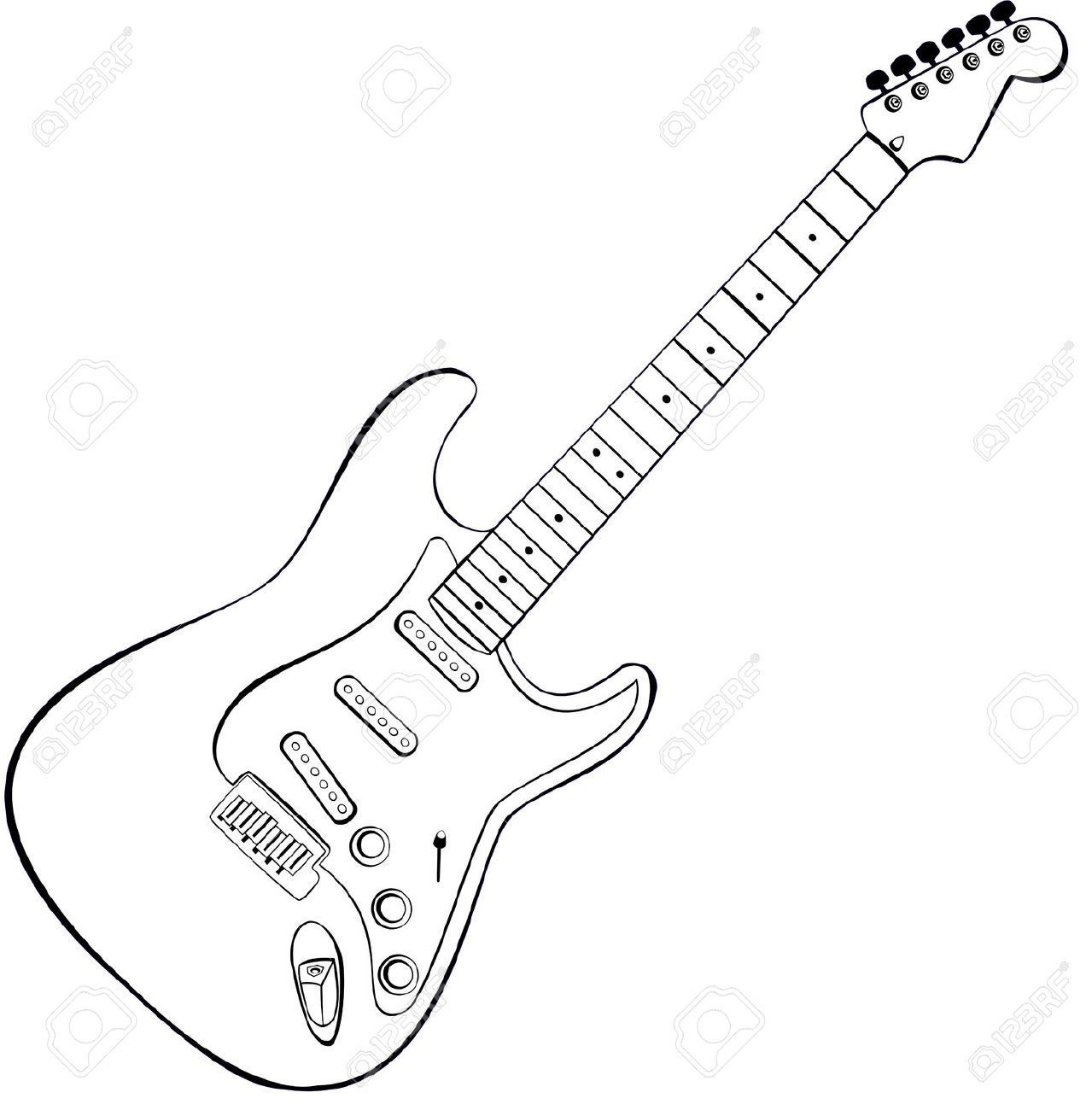Guitar outline clipart picture black and white stock Electric guitar clipart outline 3 » Clipart Portal picture black and white stock