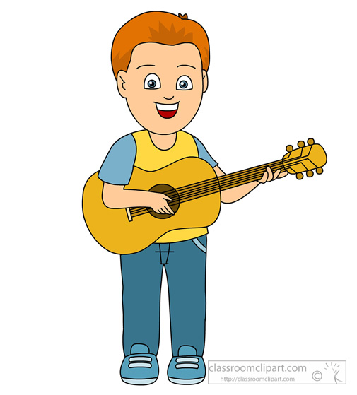 Guitar playing clipart black and white library Com Musical Instruments Boy Playing Guitar 814 clipart free image black and white library
