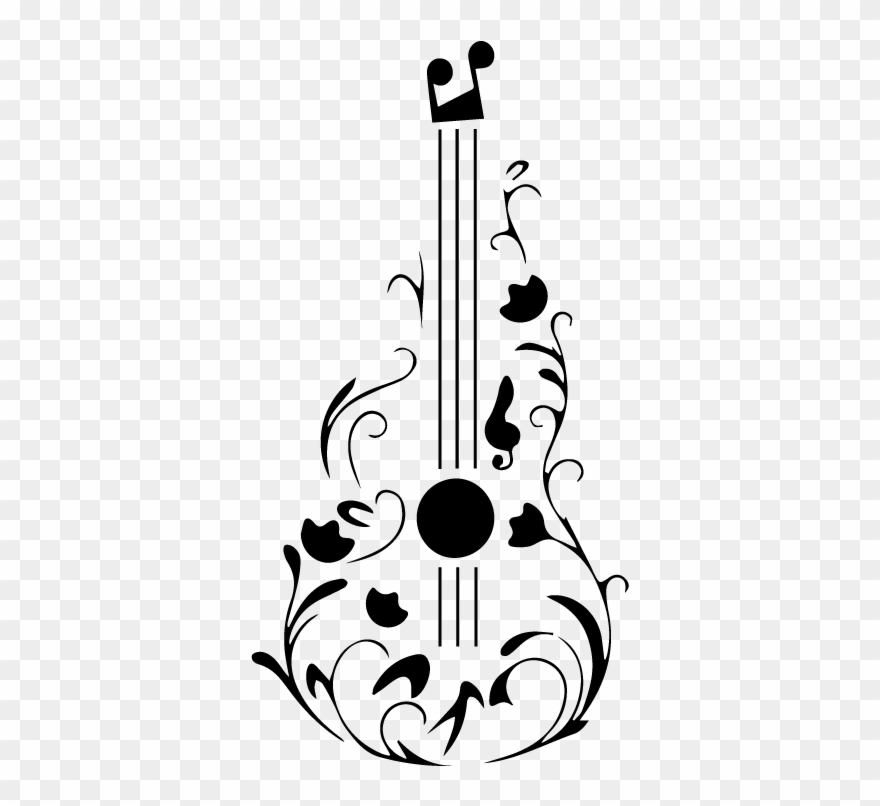 Guitarra dibujo clipart black and white Dibujos De Guitarras Y Notas Musicales Clipart (#2209603) - PinClipart black and white