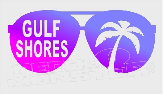 Gulf shores clipart image freeuse Gulf Shores Shades Palm Silhouette Decal Sticker DM image freeuse